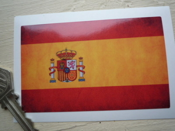 "Spanish Dirty & Faded Style Flag Sticker. 4""."