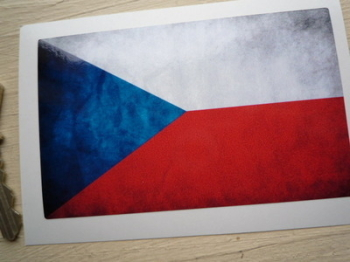 "Czech Republic Dirty & Faded Style Flag Sticker. 4""."