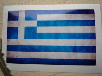 "Greece Dirty & Faded Style Flag Sticker. 4""."