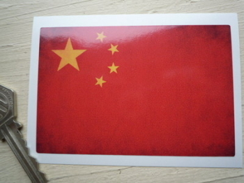 "Chinese Dirty & Faded Style Flag Sticker. 4""."