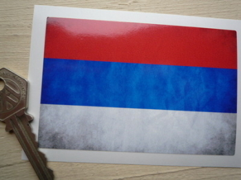 """Russia Dirty & Faded Style Flag Sticker. 4""""."""