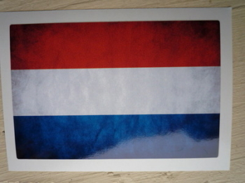 "Netherlands Dirty & Faded Style Flag Sticker. 4""."