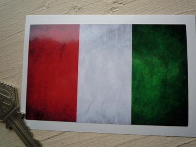 "Italian Dirty & Faded Style Flag Sticker. 4""."