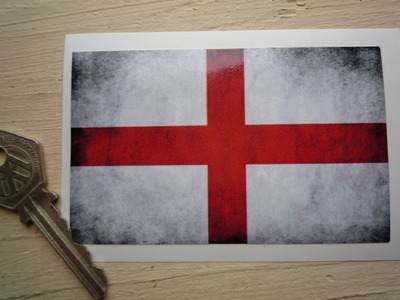 "English St George's Cross Dirty & Faded Style Flag Sticker. 4""."