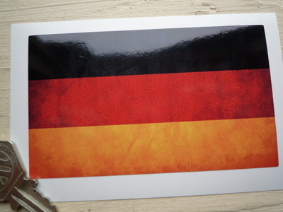 "German Dirty & Faded Style Flag Sticker. 4""."