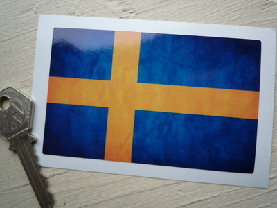 """Sweden Dirty & Faded Style Flag Sticker. 4""""."""