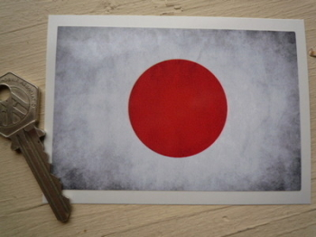 "Japanese Hinomaru Dirty & Faded Style Flag Sticker. 4""."