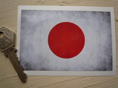 "Japanese Hinomaru Dirty & Faded Style Flag Sticker. 4""."