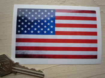 "USA Stars & Stripes Dirty & Faded Style Flag Sticker. 4""."