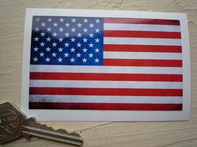 "USA Stars & Stripes Dirty & Faded Style Flag Sticker. 4""."