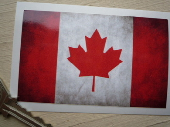 "Canadian Dirty & Faded Style Flag Sticker. 4""."