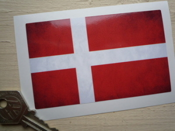 "Denmark Dirty & Faded Style Flag Sticker. 4""."