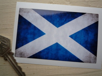 "Scottish Saltire Dirty & Faded Style Flag Sticker. 4""."
