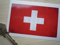 Swiss Dirty & Faded Style Flag Sticker. 4