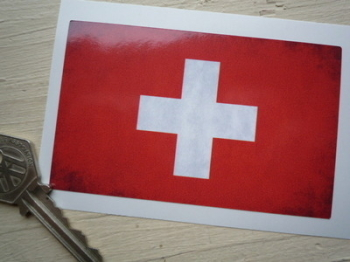 "Swiss Dirty & Faded Style Flag Sticker. 4""."