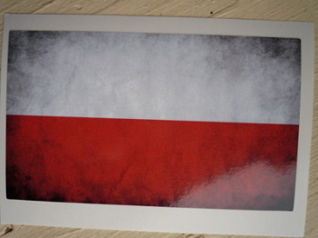 "Poland Dirty & Faded Style Flag Sticker. 4"" or 6""."