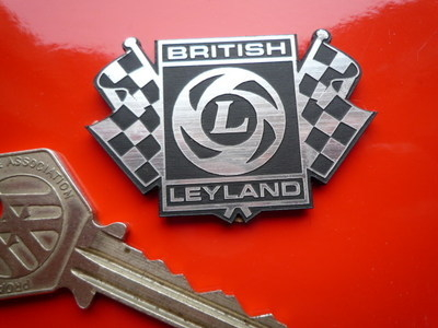 British Leyland Chequered Flags Laser Self Adhesive Cut Car Badge. 2