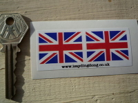 Union Jack Flag Oblong Stickers. 33mm Pair.