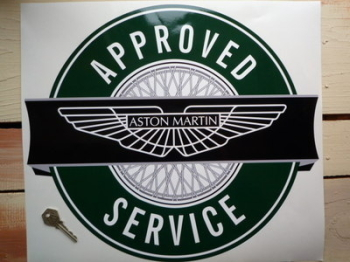 "Aston Martin Approved Service Sticker. 16.5""."