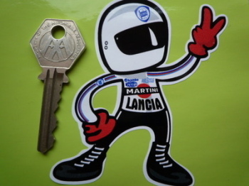 "Lancia Driver 2 Fingered Salute Sticker. 3.5""."
