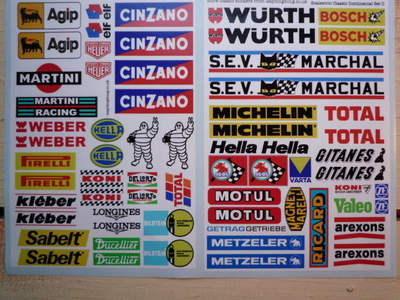 Scalextric Slot Car Racing European Trackside Stickers Set C.