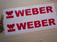 "Weber Oblong Red & White Stickers. 7"" Pair."