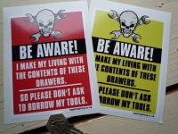 Be Aware Mechanics Tools Warning Skull & Cross Spanner Sticker. 4