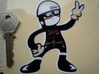 Velocette Rider 2 Fingered Salute Sticker. 3.5