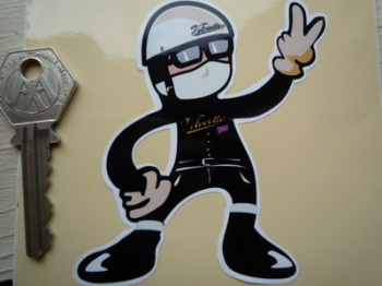 "Velocette Rider 2 Fingered Salute Sticker. 3.5""."