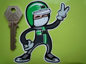 "MZ Rider 2 Fingered Salute Sticker Green or Red. 3.5""."