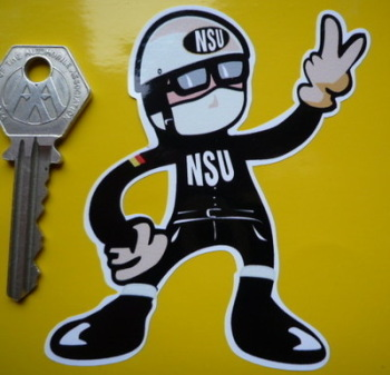 "NSU Rider 2 Fingered Salute Sticker. 3.5""."