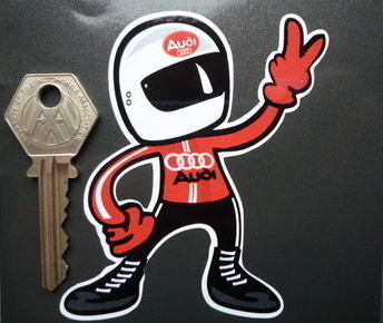 "Audi Driver 2 Fingered Salute Sticker. 3.5""."