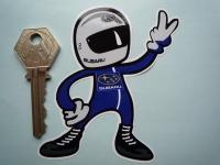 Subaru Driver 2 Fingered Salute Sticker. 3.5