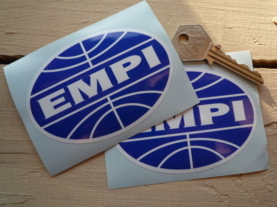"EMPI Blue & White Oval Stickers. 3.5"" Pair."