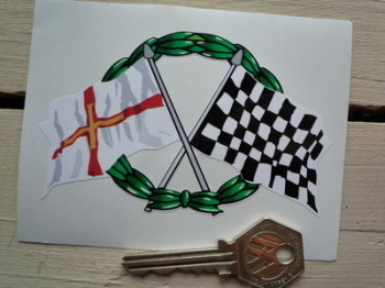 "Crossed Guernsey & Chequered Flag with Garland Sticker. 4""."