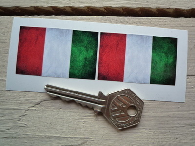 """Italian Dirty & Faded Style Flag Stickers. 2"""" Pair."""