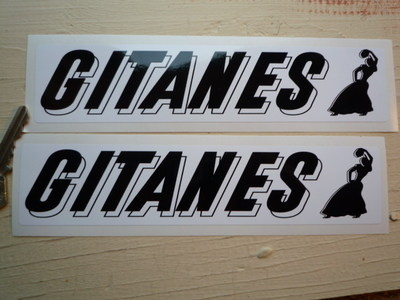 """Gitanes French Cigarette Oblong Text & Lady Stickers. 8"""" Pair."""