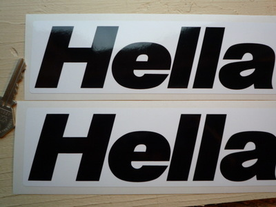 "Hella Black & White Oblong Stickers. 8"" or 12"" Pair."