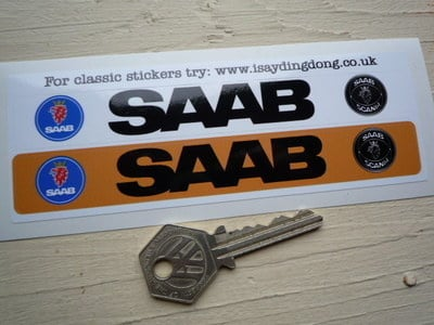 """Saab Number Plate Dealer Logo Cover Stickers. 5.5"""" Pair."""