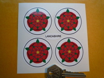 Lancashire Red Rose Wheel Centre Style Stickers. Set of 4. 50mm.
