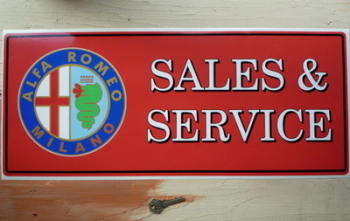 "Alfa Romeo Sales & Service Workshop Sticker. 23.5""."