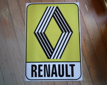 "Renault 1972 & on Yellow Logo & Text Sticker. 10"" or 12""."