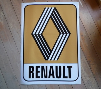 "Renault 1972 & on Mustard Logo & Text Sticker. 10"" or 12""."