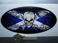Skull & Cross Spanner Saltire Fade To Black Oval Sticker. 3