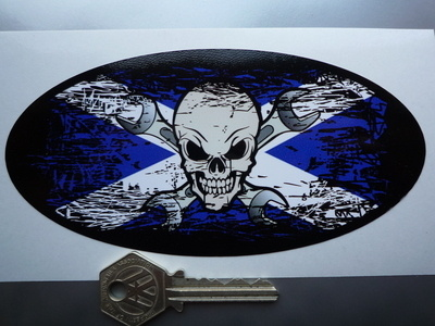 "Skull & Cross Spanner Saltire Fade To Black Oval Sticker. 3"", 4"", 6"" or 8""."