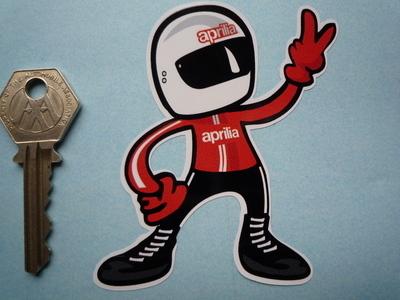 """Aprilia Rider 2 Fingered Salute Sticker. 3.5""""."""