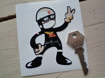 "Moto Morini Rider 2 Fingered Salute Sticker. 3.5""."