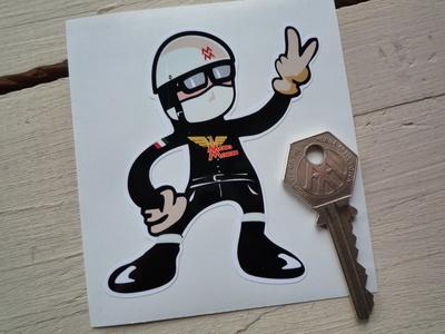 Moto Morini Rider 2 Fingered Salute Sticker. 3.5