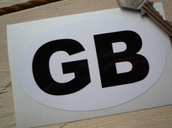 "GB Plain White & Black ID Plate Sticker. 4.5""."