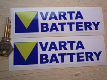 "Varta Battery Oblong Stickers. 6"" Pair."